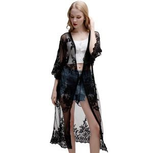 Black Lace Kimono Beach Coverup Size Small